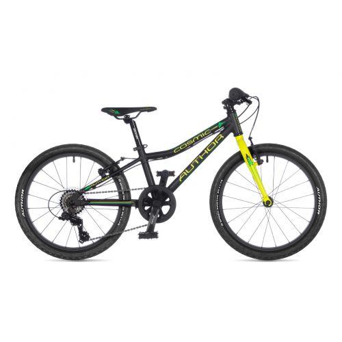 """Велосипед AUTHOR (2021) Cosmic 20"""", рама 10"""", цвет-матово чёрный // неоново жёлтый"""