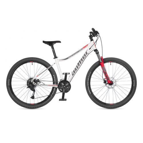 """Велосипед AUTHOR (2021) Solution ASL 27.5"""", рама 18, цвет-белый (серебристый) // красный"""