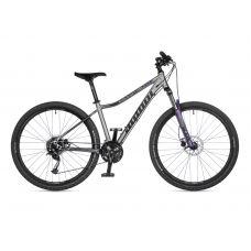 """Велосипед AUTHOR (2021) Solution ASL 27.5"""", рама 16"""", цвет-серебристый (чёрный) // лиловый"""