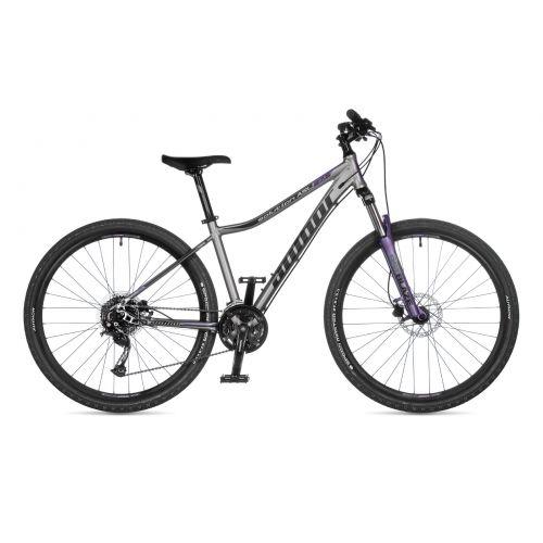 """Велосипед AUTHOR (2021) Solution ASL 27.5"""", рама 16, цвет-серебристый (чёрный) // лиловый"""