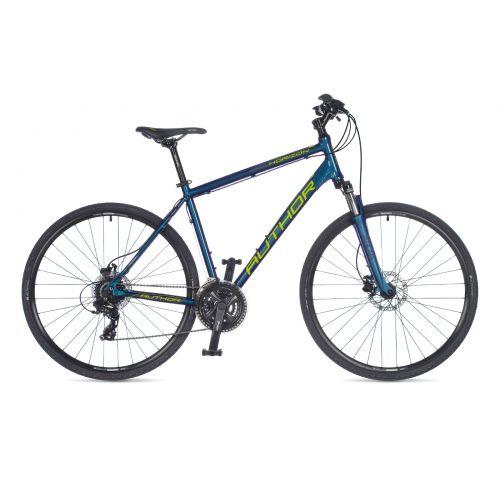 """Велосипед AUTHOR (2021) Horizon 28"""", рама 18"""", цвет-темно синий (лимонний) // синий"""