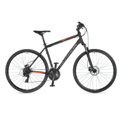 """Велосипед AUTHOR (2021) Horizon 28"""", рама 18"""", цвет-чёрный (неоново оранжевый) // чёрный"""