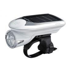 Фонарь передний CATEYE HL-EL020, белый. Гибрид с солнечной батареей.