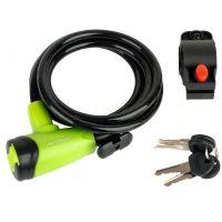 Замок велосипедний Author ASL-41 d.8x1500mm, колір зелено/чорний