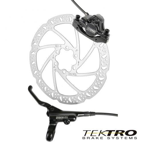 Дисковый передний гидравлический тормоз TEKTRO TK-Orion. Набор: диск+калипер+адаптер+трос+ручка