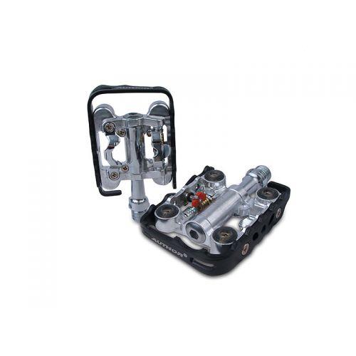 Педали Author A-sport 25 контактные, серебристо черные, вес 352 гр.