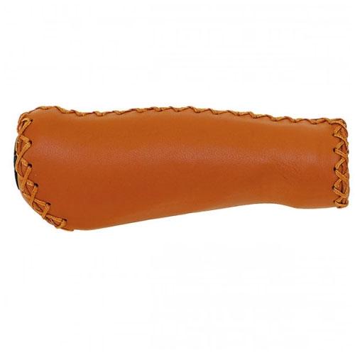 Ручки на руль кожанные VELO LEATHER, коричневые, 125 мм, анатомической формы
