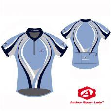 Футболка велосипедная женская ASL-R-4A Размер XL, голубая с черно/серо/белыми полосками