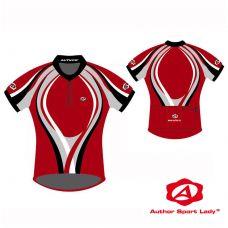 Футболка велосипедная женская ASL-R-4B Размер XL, красная с черно/серо/белыми полосками