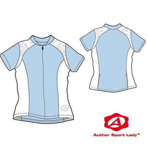 Футболка велосипедная женская ASL-E-5A Размер XL, голубая/белая