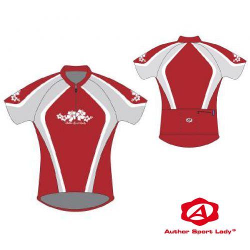 Футболка велосипедная женская ASL-R-5B Размер XL, красно/серая