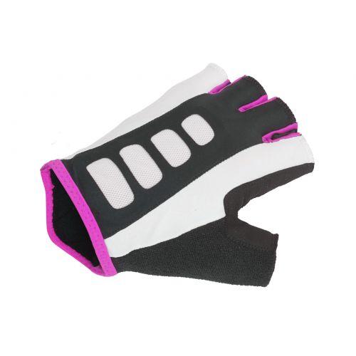 Перчатки женские Author Lady Sport Gel X6 размер L, черно белые с неоново розовыми вставками