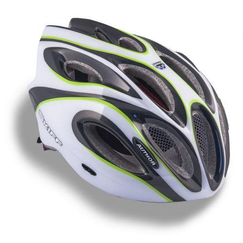 Шлем Skiff 141 черный/белый/зеленый,  размер 52-58 cm, вес 271 гр.