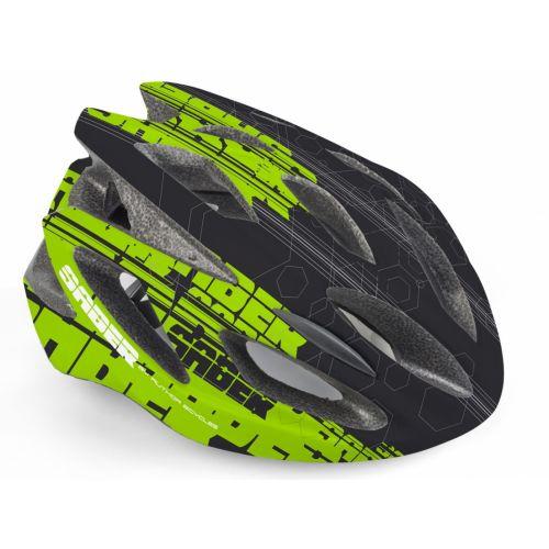 Шлем Saber Inmold 143 черный/зеленый,  размер 52-58 cm, вес 244 гр.