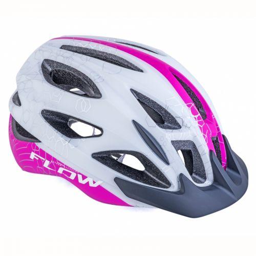 Шлем Author Flow Inmold X9, размер 54-58 cm, цвет: белый/ неоново розовий