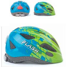 Шлем Author Flash Inmold с мигалкой, сине зеленый, размер 51-55 cm