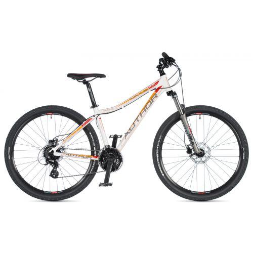 """Велосипед AUTHOR (2020) Impulse ASL 27.5"""", рама 16"""", цвет-белый (серебристый/оранжевый) // серый"""