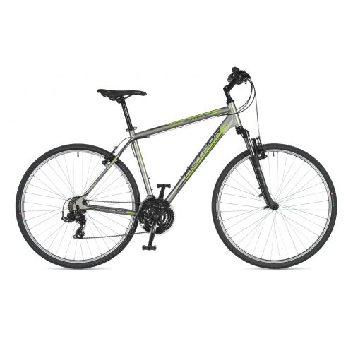 """Велосипед AUTHOR (2020) Compact 28"""", рама 18"""", цвет-серебристый (зелёный) // чёрный"""