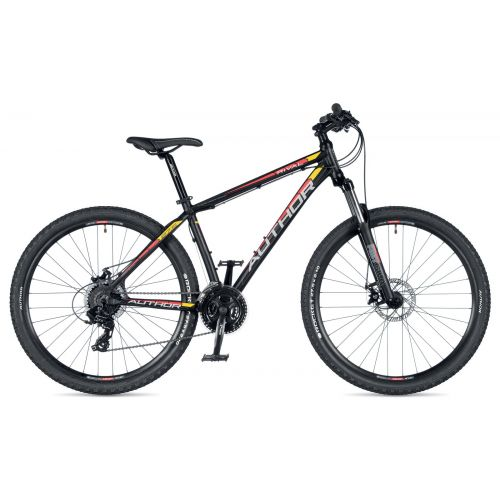 """Велосипед AUTHOR (2019) Rival 27.5"""", рама 15"""", цвет-чёрный (красно/желтый) // чёрный"""